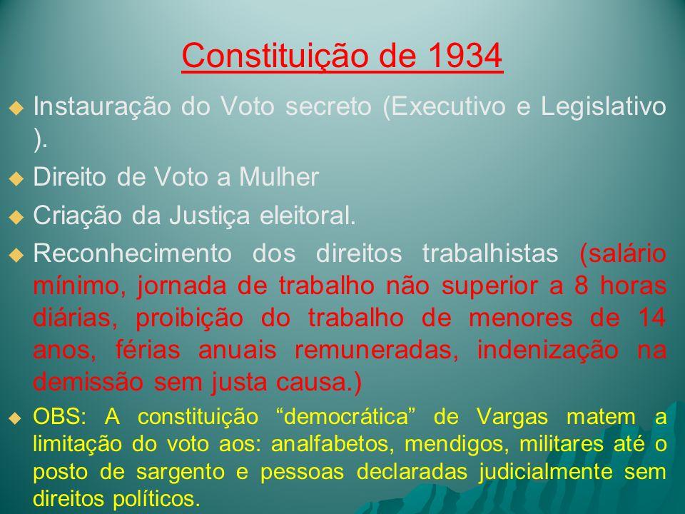 Constituição de 1934 Instauração do Voto secreto (Executivo e Legislativo ). Direito de Voto a Mulher.