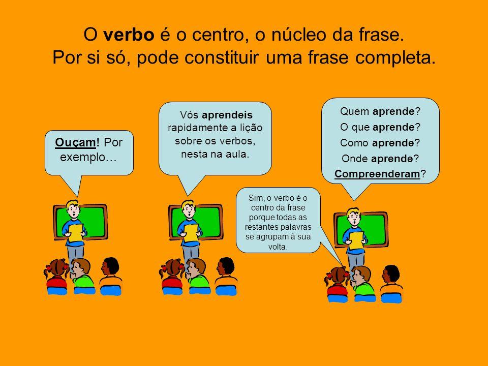 Vós aprendeis rapidamente a lição sobre os verbos, nesta na aula.