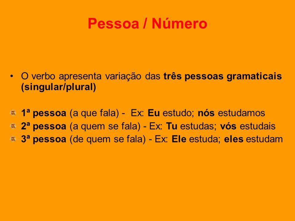 Pessoa / Número O verbo apresenta variação das três pessoas gramaticais (singular/plural) 1ª pessoa (a que fala) - Ex: Eu estudo; nós estudamos.