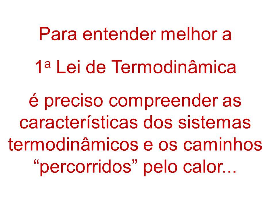 Para entender melhor a 1a Lei de Termodinâmica.