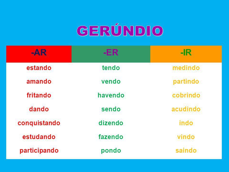 GERÚNDIO -AR -ER -IR estando tendo medindo amando vendo partindo