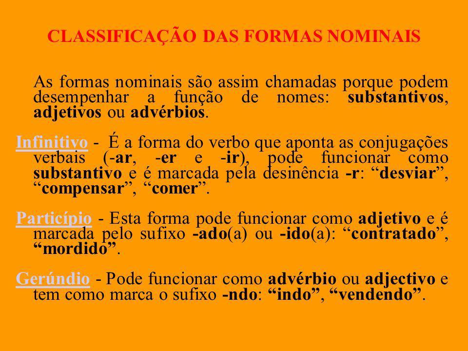 CLASSIFICAÇÃO DAS FORMAS NOMINAIS