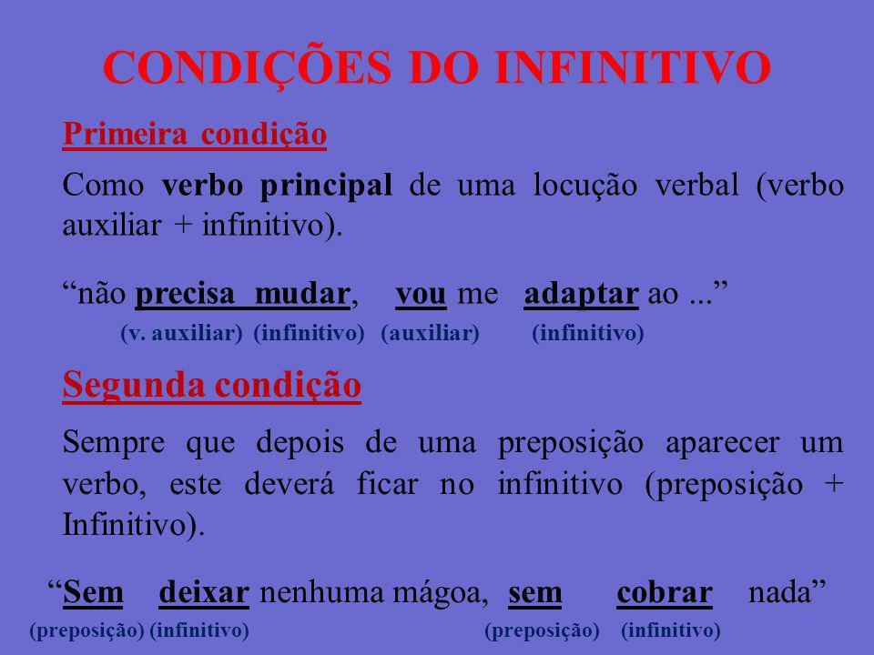 CONDIÇÕES DO INFINITIVO