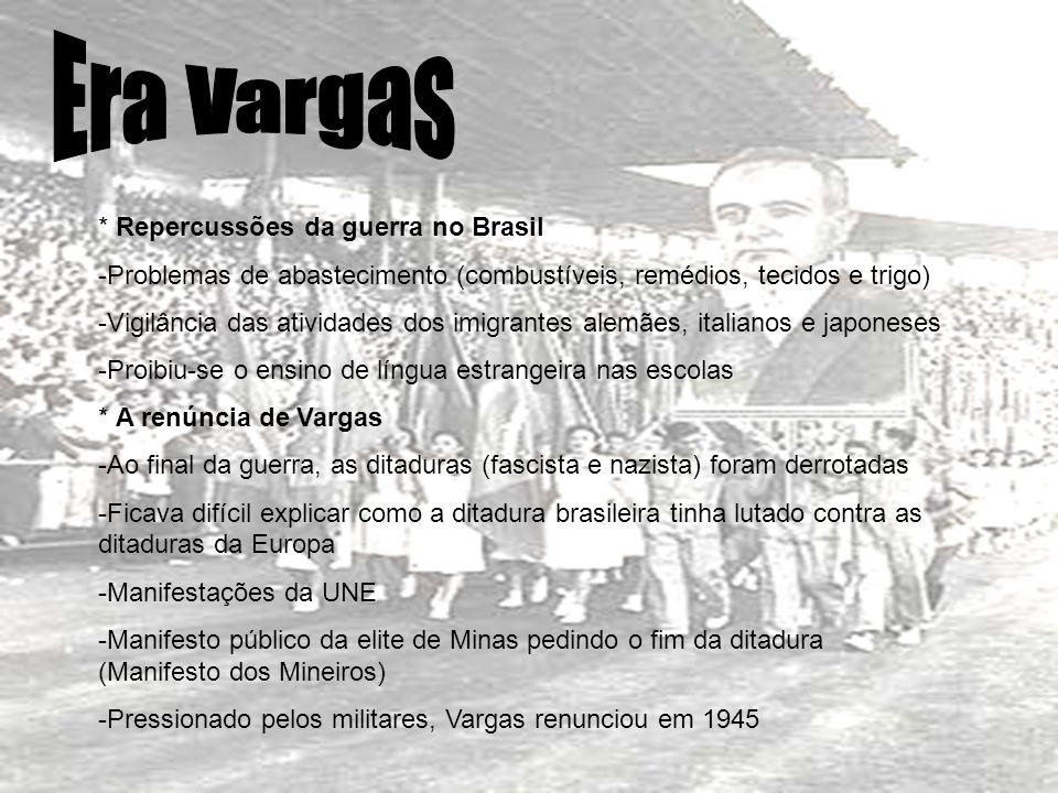 Era Vargas * Repercussões da guerra no Brasil