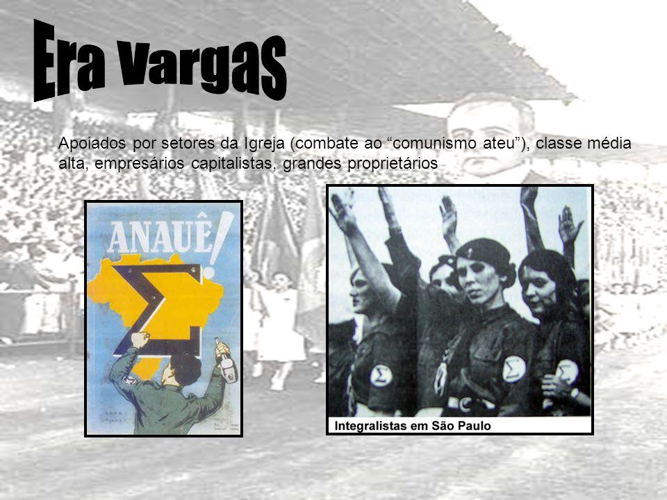 Era Vargas Apoiados por setores da Igreja (combate ao comunismo ateu ), classe média alta, empresários capitalistas, grandes proprietários.