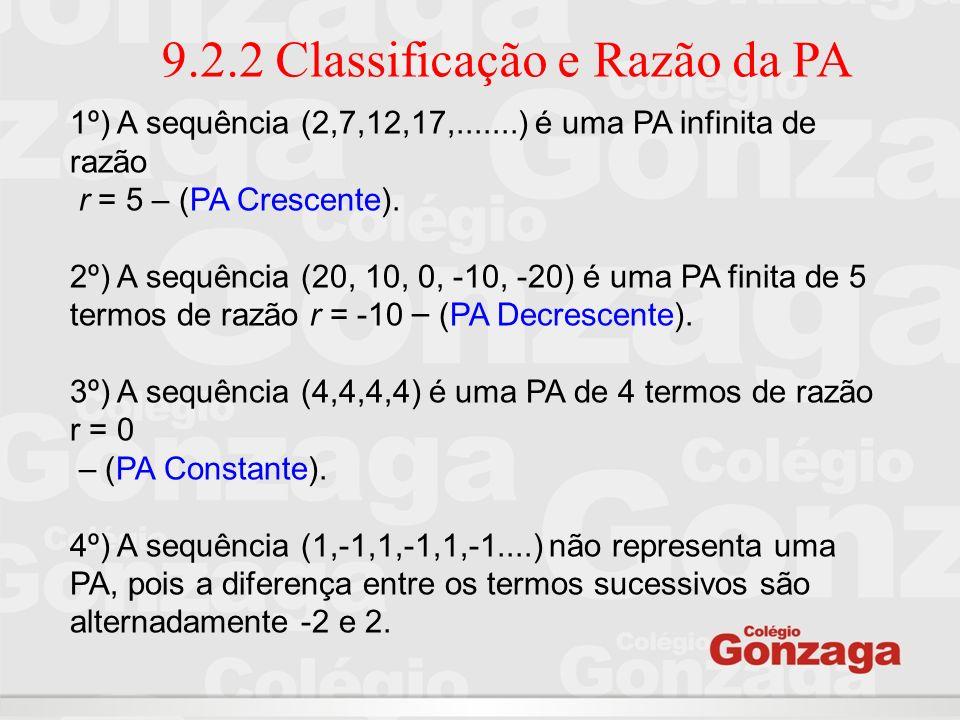 9.2.2 Classificação e Razão da PA