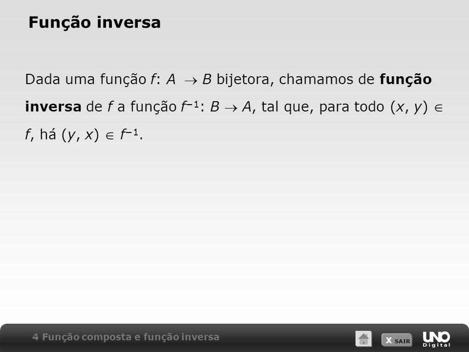 Função inversa Dada uma função f: A  B bijetora, chamamos de função