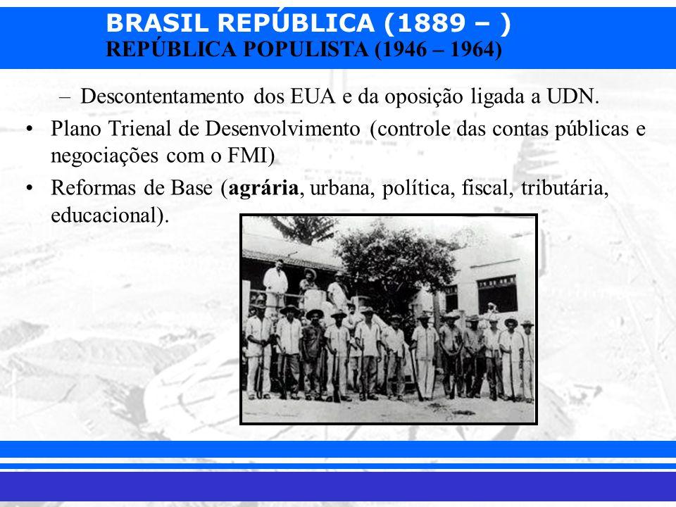 Descontentamento dos EUA e da oposição ligada a UDN.