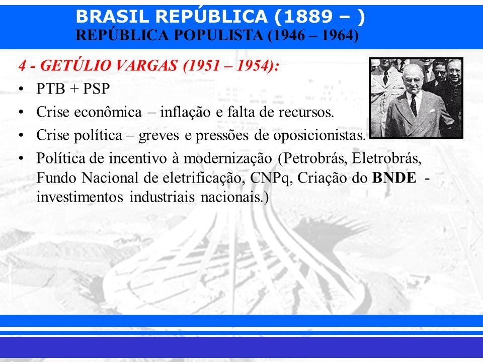 4 - GETÚLIO VARGAS (1951 – 1954): PTB + PSP. Crise econômica – inflação e falta de recursos. Crise política – greves e pressões de oposicionistas.