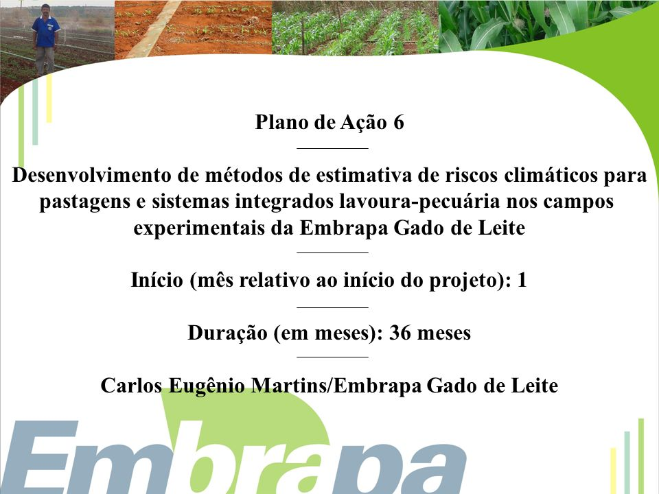 Desenvolvimento de métodos de estimativa de riscos climáticos para