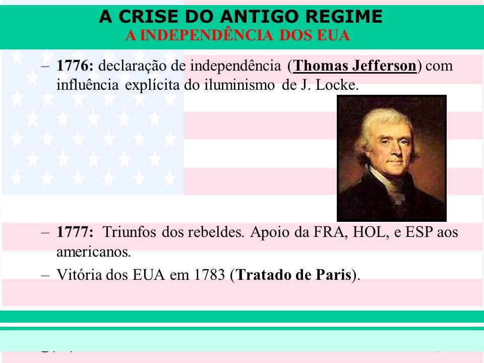 1776: declaração de independência (Thomas Jefferson) com influência explícita do iluminismo de J. Locke.