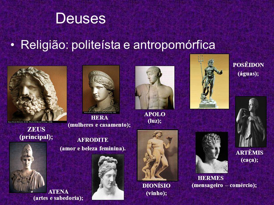 Deuses Religião: politeísta e antropomórfica ZEUS (principal);