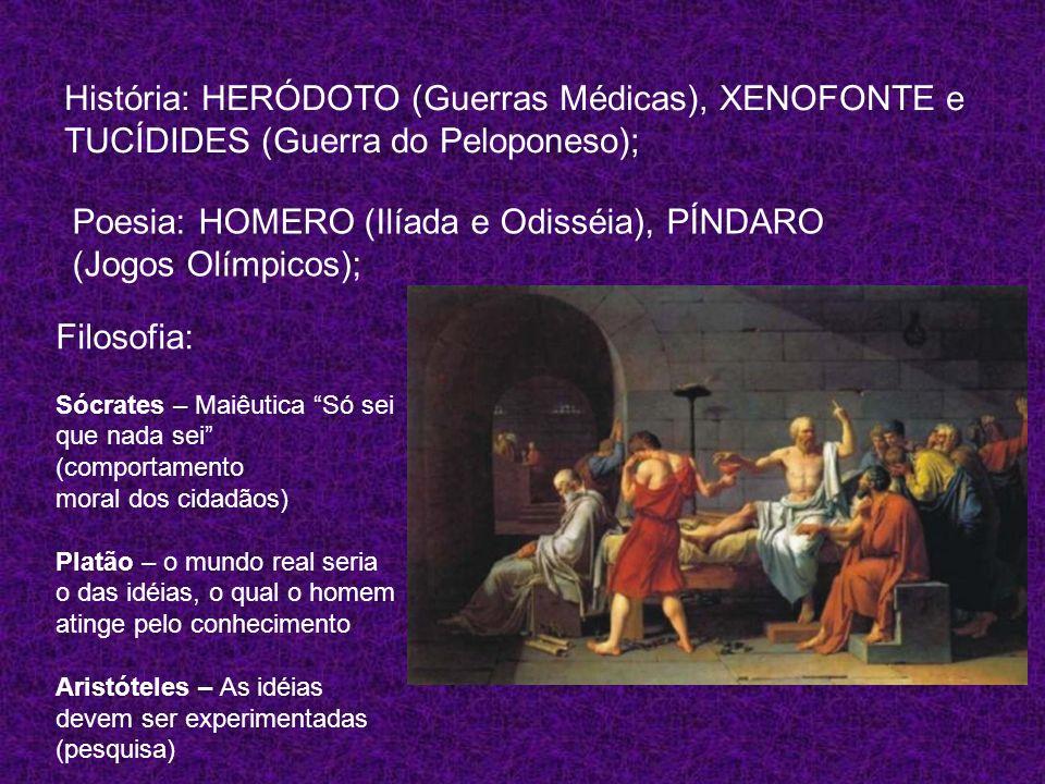 Poesia: HOMERO (Ilíada e Odisséia), PÍNDARO (Jogos Olímpicos);