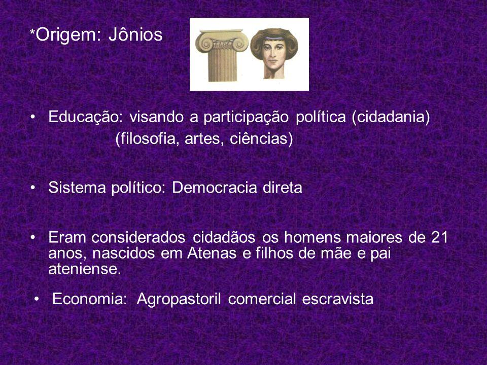 *Origem: Jônios Educação: visando a participação política (cidadania) (filosofia, artes, ciências)