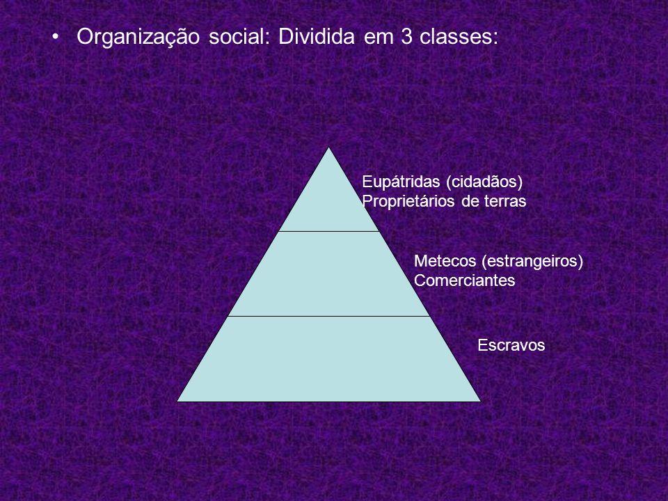 Organização social: Dividida em 3 classes: