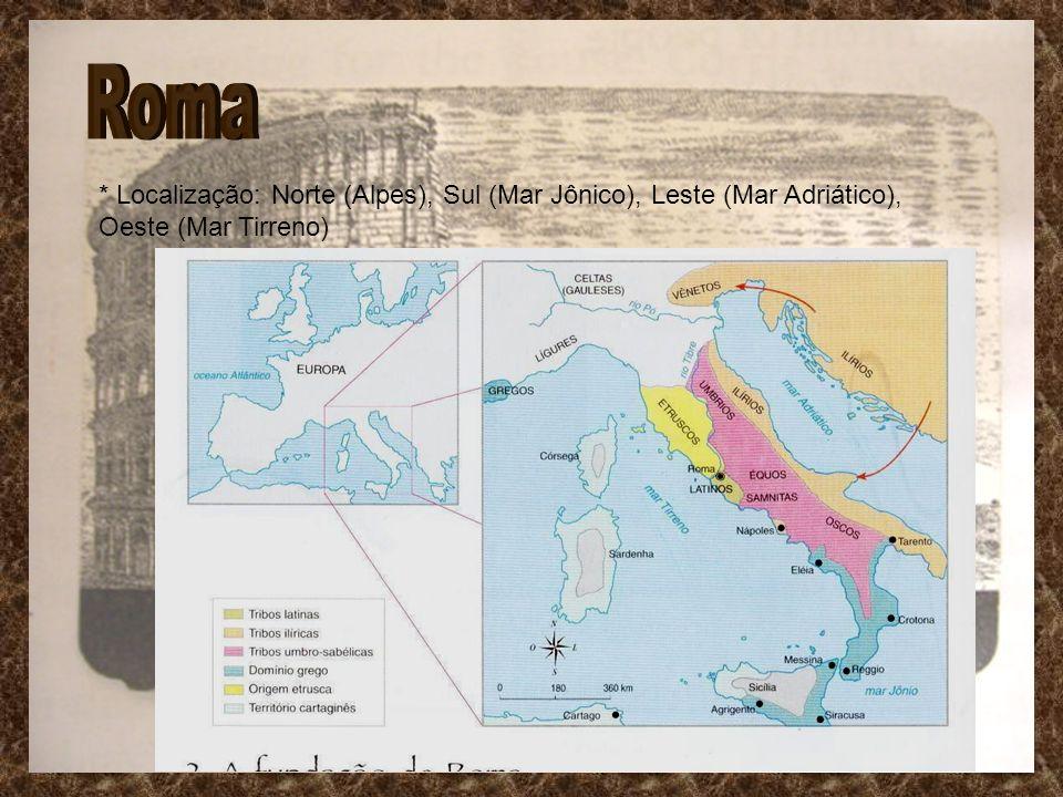 Roma * Localização: Norte (Alpes), Sul (Mar Jônico), Leste (Mar Adriático), Oeste (Mar Tirreno)
