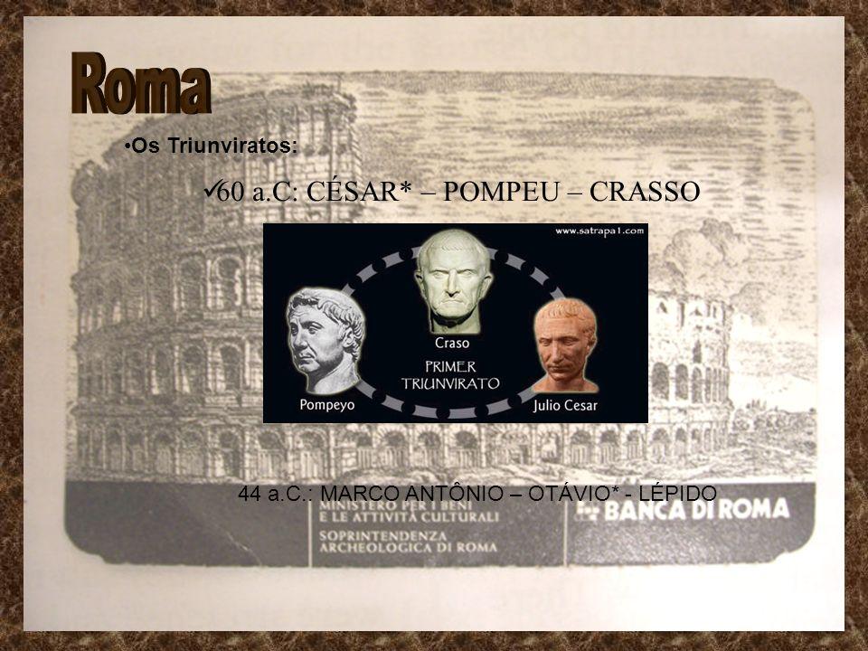 Roma 60 a.C: CÉSAR* – POMPEU – CRASSO Os Triunviratos: