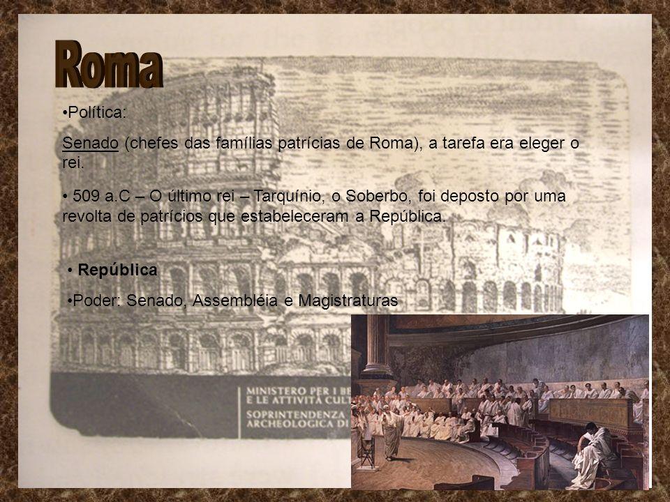 Roma Política: Senado (chefes das famílias patrícias de Roma), a tarefa era eleger o rei.