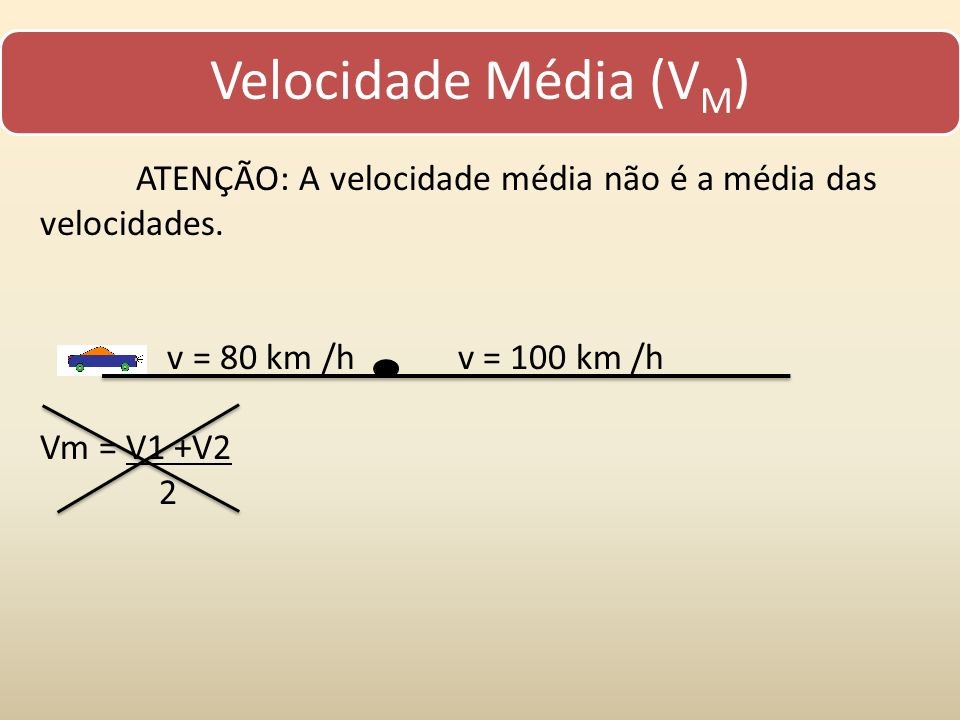 Velocidade Média (VM) ATENÇÃO: A velocidade média não é a média das velocidades. v = 80 km /h v = 100 km /h.