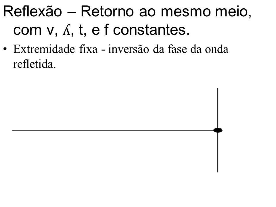 Reflexão – Retorno ao mesmo meio, com v, ʎ, t, e f constantes.