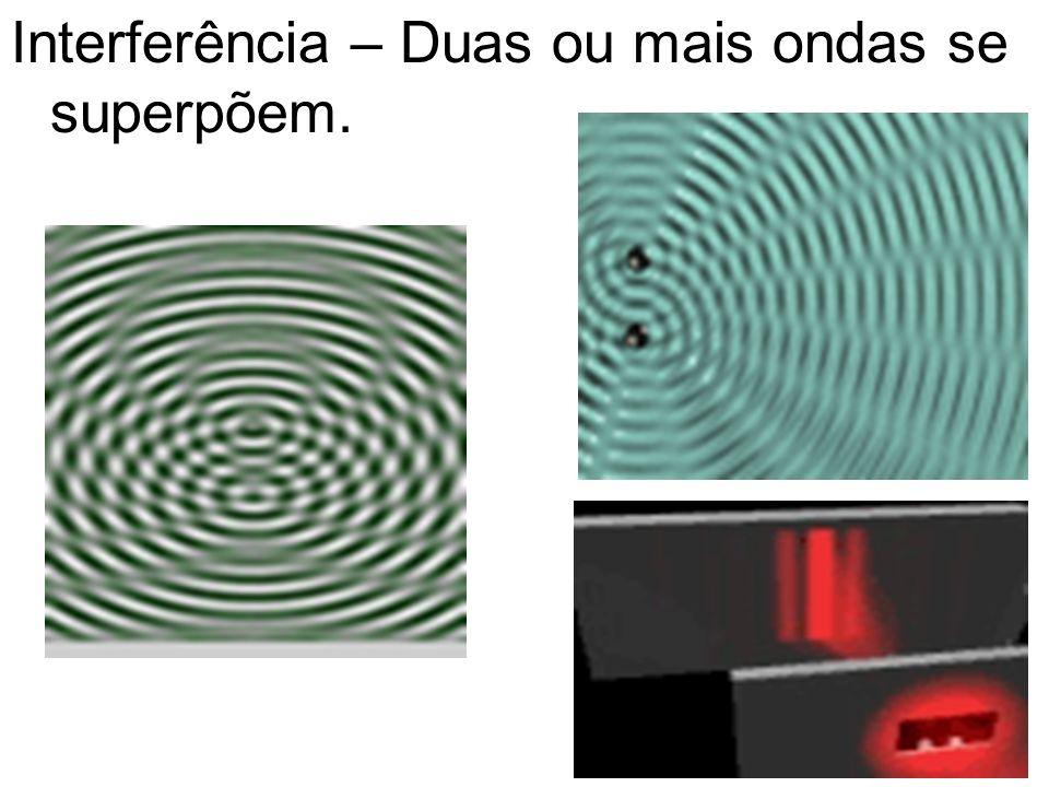 Interferência – Duas ou mais ondas se superpõem.