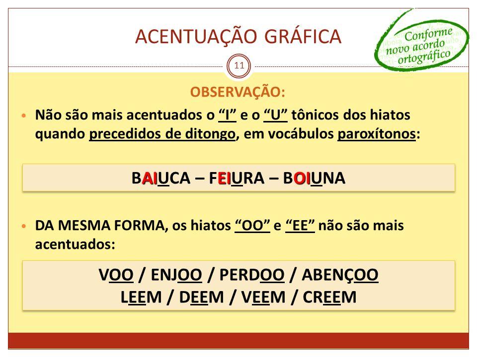 ACENTUAÇÃO GRÁFICA BAIUCA – FEIURA – BOIUNA