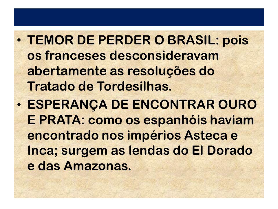 TEMOR DE PERDER O BRASIL: pois os franceses desconsideravam abertamente as resoluções do Tratado de Tordesilhas.