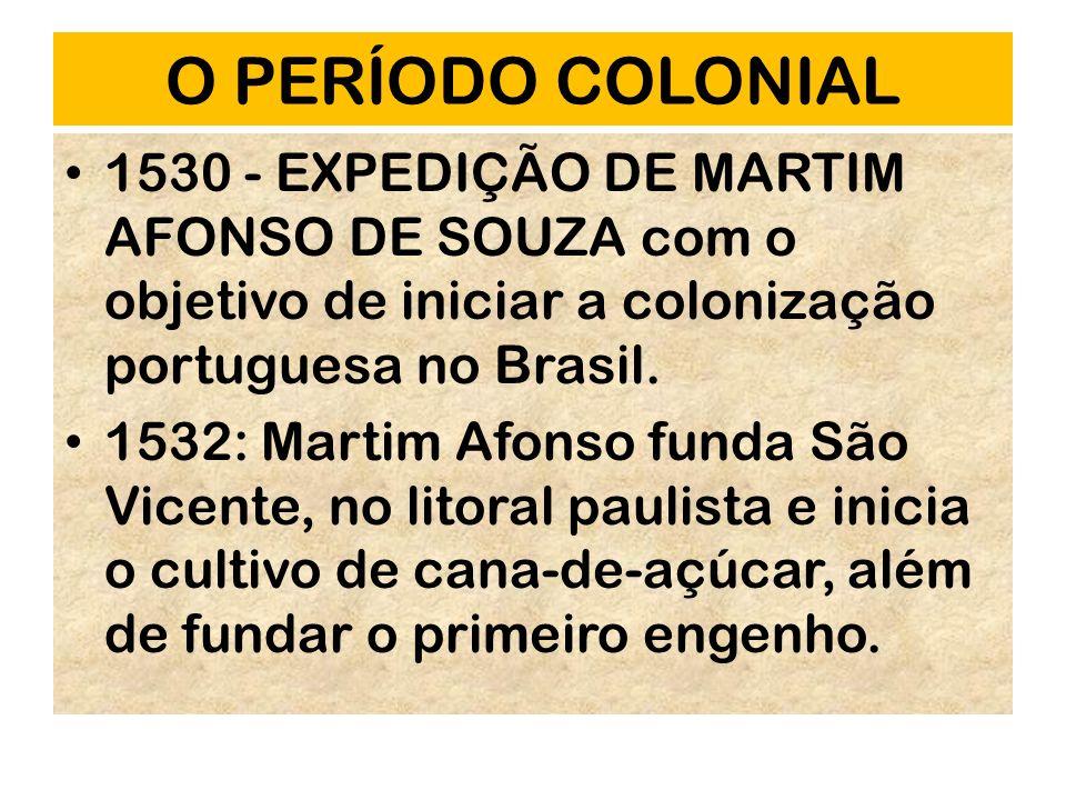 O PERÍODO COLONIAL 1530 - EXPEDIÇÃO DE MARTIM AFONSO DE SOUZA com o objetivo de iniciar a colonização portuguesa no Brasil.