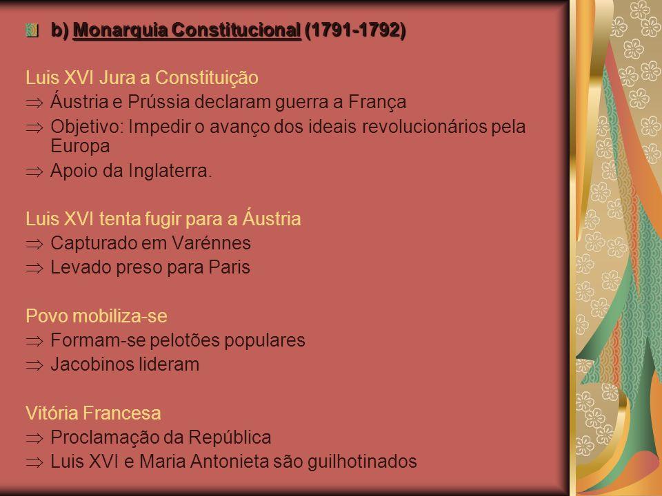b) Monarquia Constitucional (1791-1792)