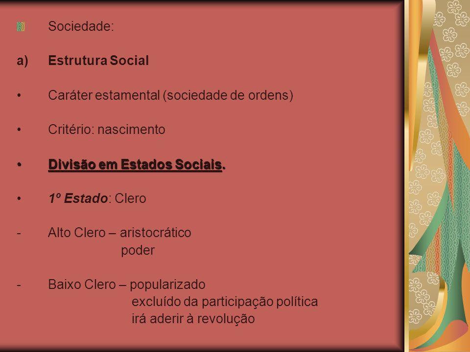 Sociedade: Estrutura Social. Caráter estamental (sociedade de ordens) Critério: nascimento. Divisão em Estados Sociais.