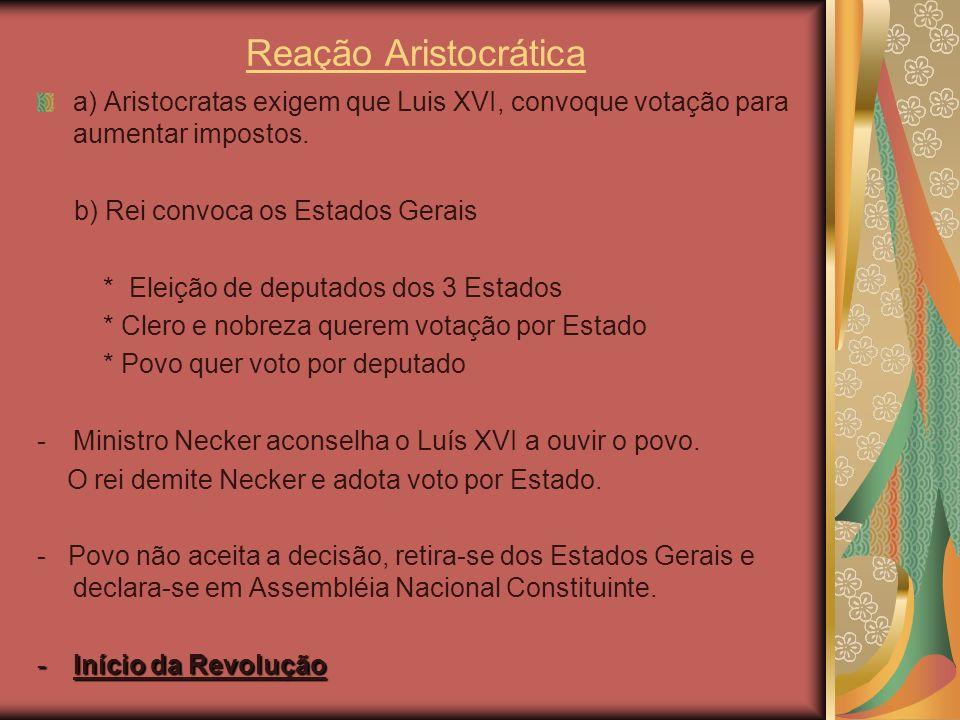 Reação Aristocrática a) Aristocratas exigem que Luis XVI, convoque votação para aumentar impostos. b) Rei convoca os Estados Gerais.