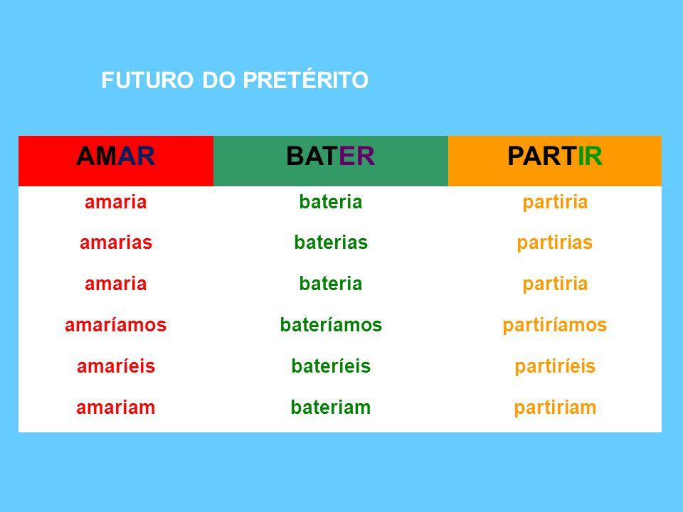 AMAR BATER PARTIR FUTURO DO PRETÉRITO amaria bateria partiria amarias