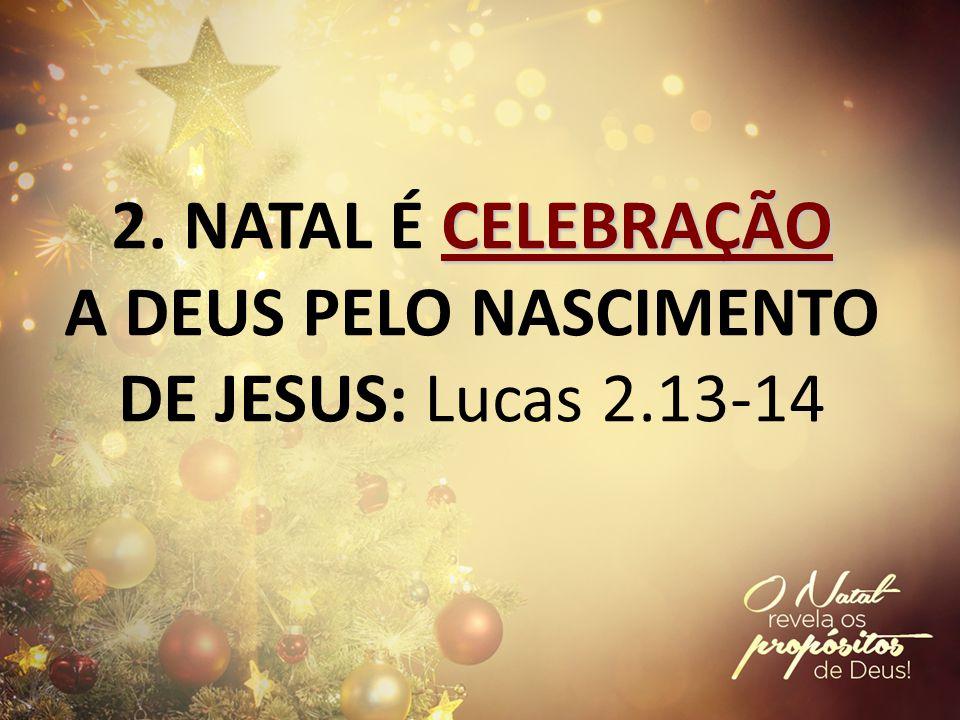 2. NATAL É CELEBRAÇÃO A DEUS PELO NASCIMENTO DE JESUS: Lucas 2.13-14