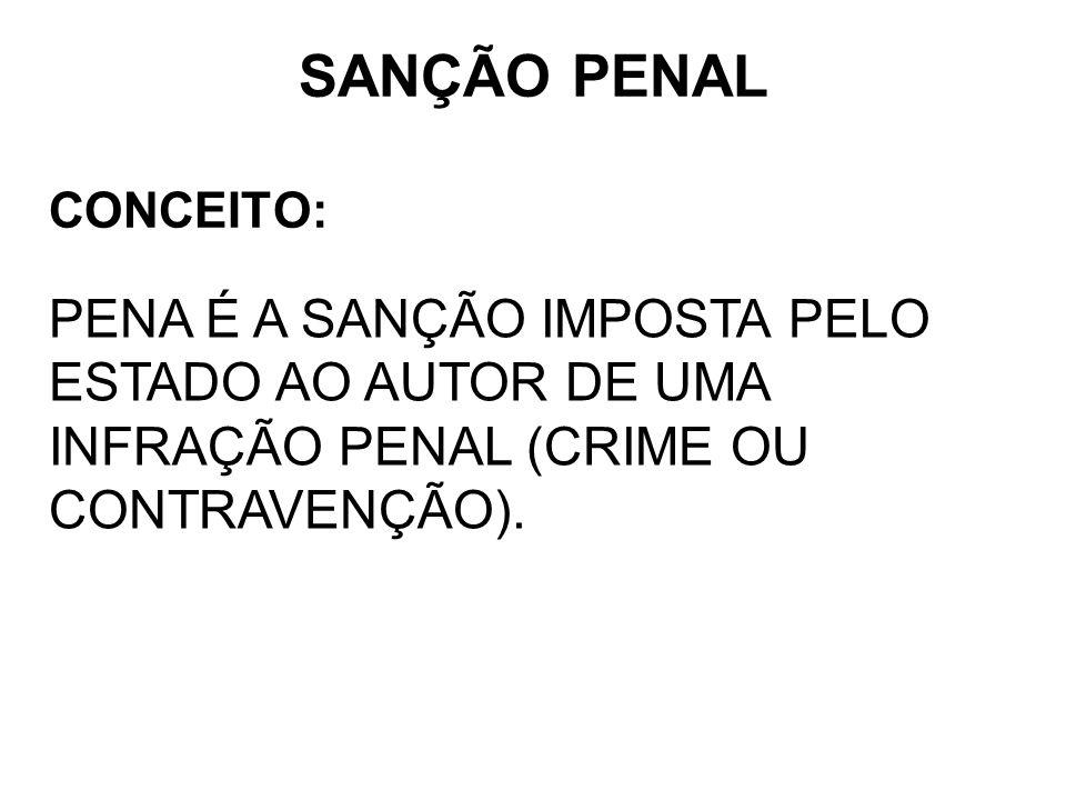SANÇÃO PENAL CONCEITO: PENA É A SANÇÃO IMPOSTA PELO ESTADO AO AUTOR DE UMA INFRAÇÃO PENAL (CRIME OU CONTRAVENÇÃO).