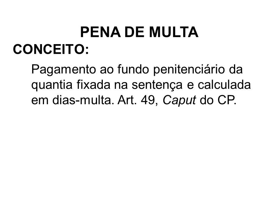 PENA DE MULTA CONCEITO: Pagamento ao fundo penitenciário da quantia fixada na sentença e calculada em dias-multa.