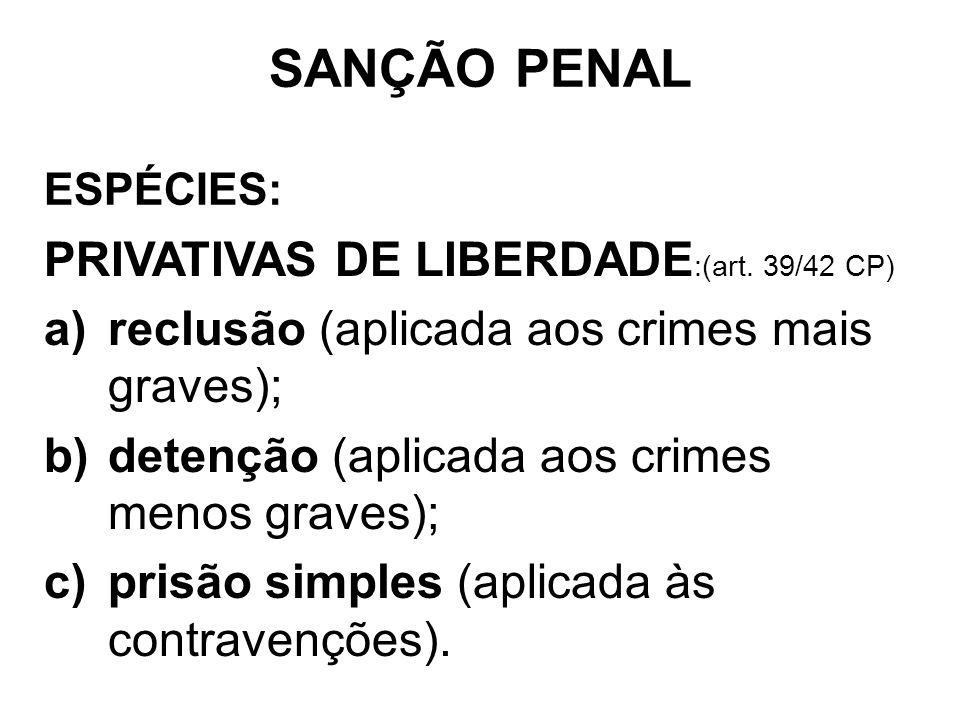 SANÇÃO PENAL PRIVATIVAS DE LIBERDADE:(art. 39/42 CP)