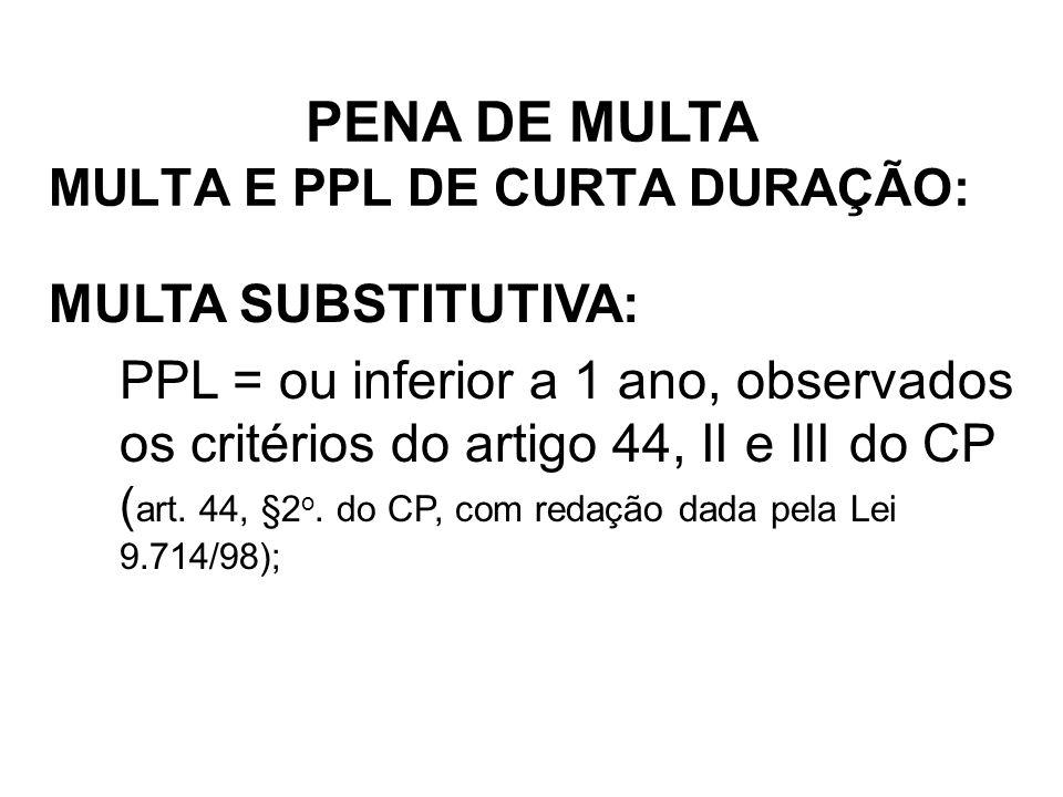 MULTA E PPL DE CURTA DURAÇÃO: