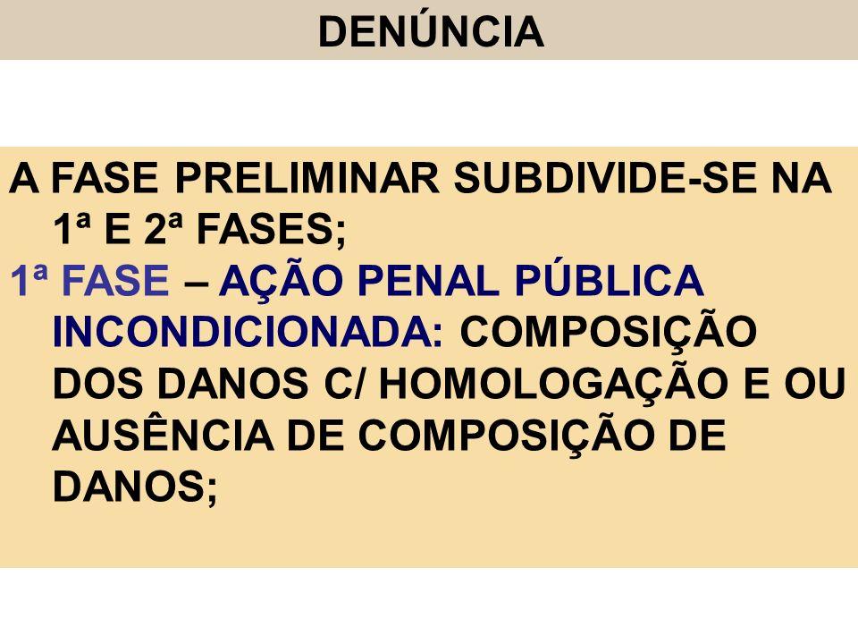 DENÚNCIA A FASE PRELIMINAR SUBDIVIDE-SE NA 1ª E 2ª FASES;