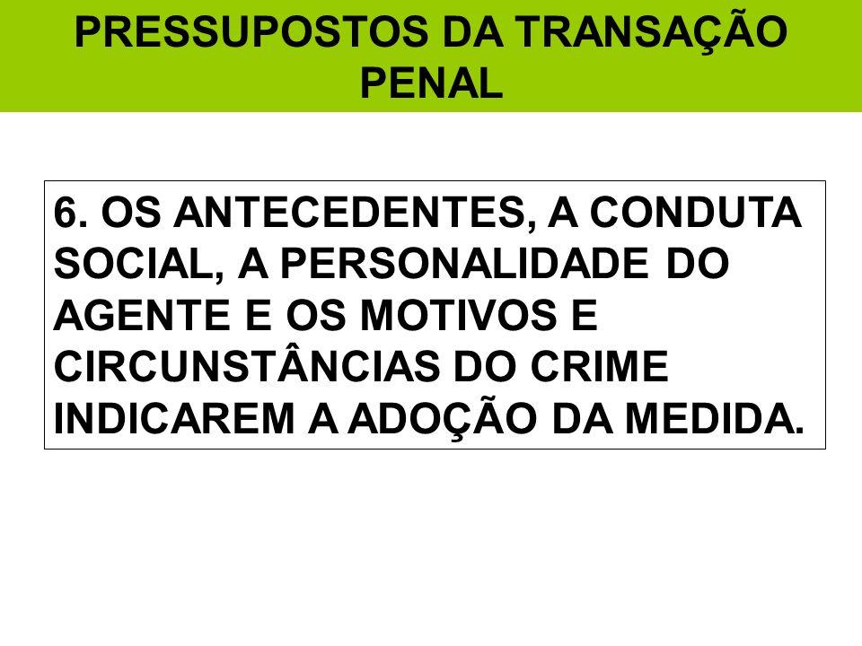 PRESSUPOSTOS DA TRANSAÇÃO PENAL