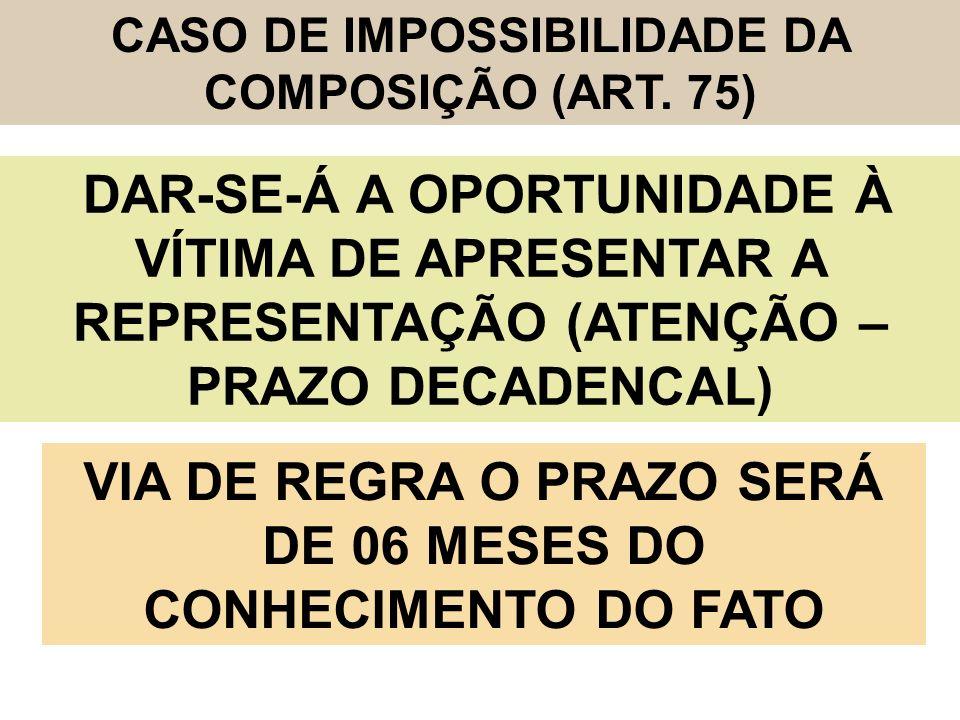 VIA DE REGRA O PRAZO SERÁ DE 06 MESES DO CONHECIMENTO DO FATO