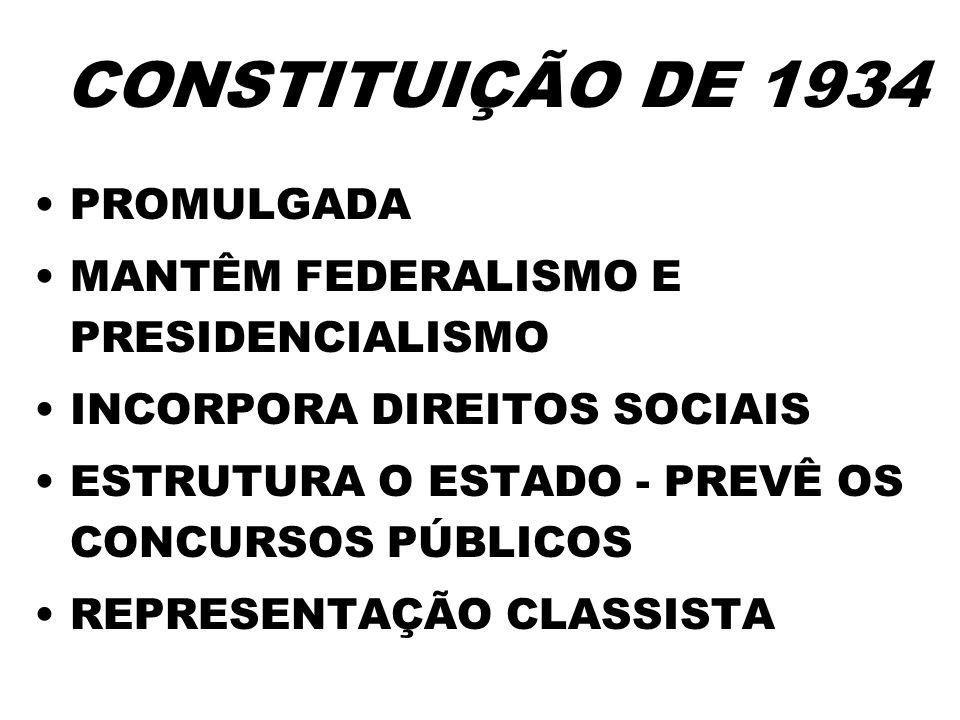 CONSTITUIÇÃO DE 1934 PROMULGADA MANTÊM FEDERALISMO E PRESIDENCIALISMO