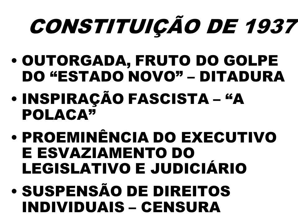 CONSTITUIÇÃO DE 1937 OUTORGADA, FRUTO DO GOLPE DO ESTADO NOVO – DITADURA. INSPIRAÇÃO FASCISTA – A POLACA