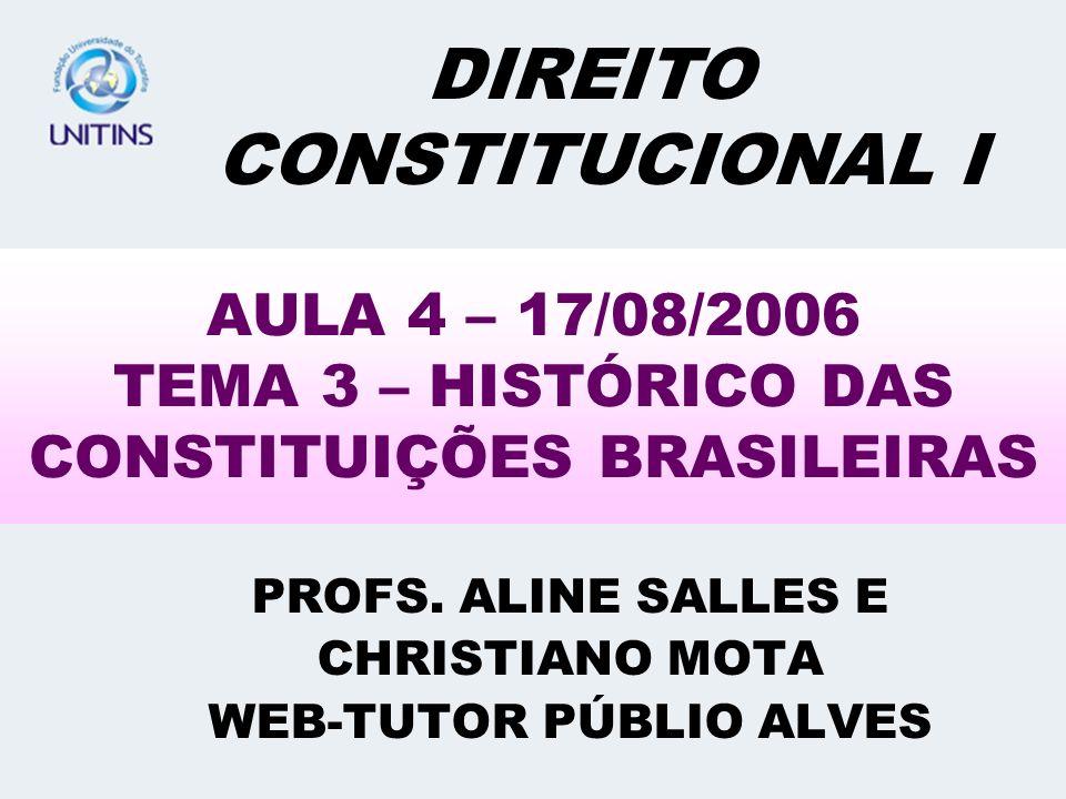 AULA 4 – 17/08/2006 TEMA 3 – HISTÓRICO DAS CONSTITUIÇÕES BRASILEIRAS