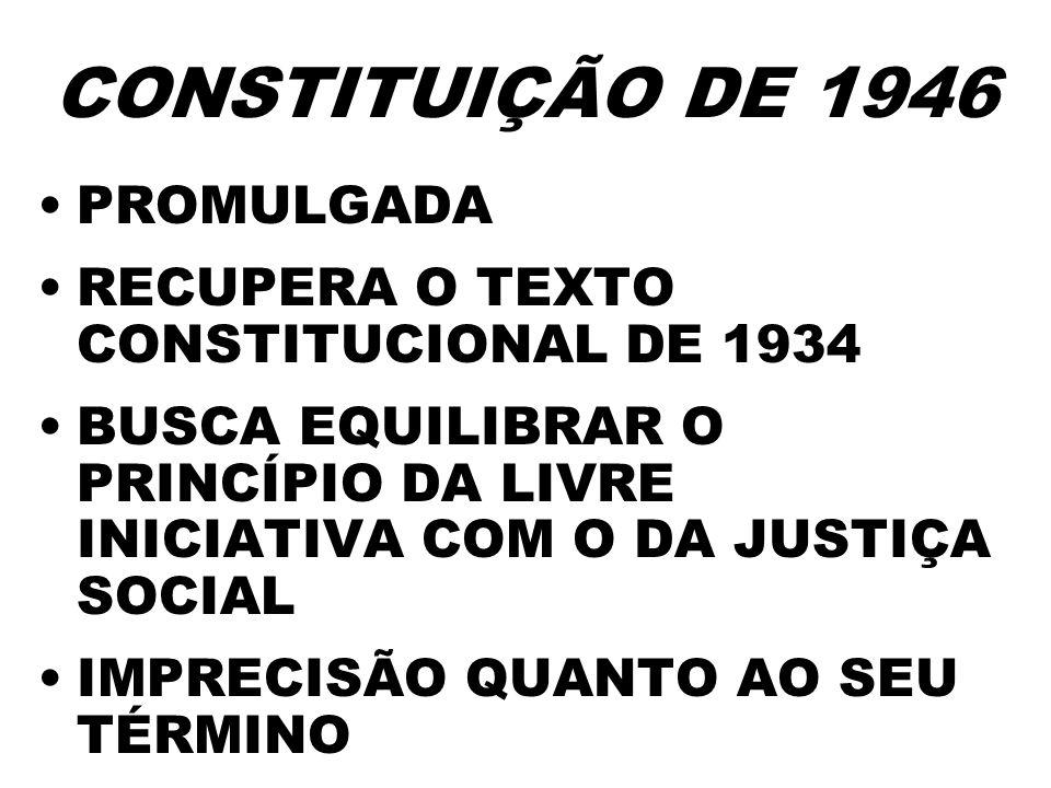 CONSTITUIÇÃO DE 1946 PROMULGADA