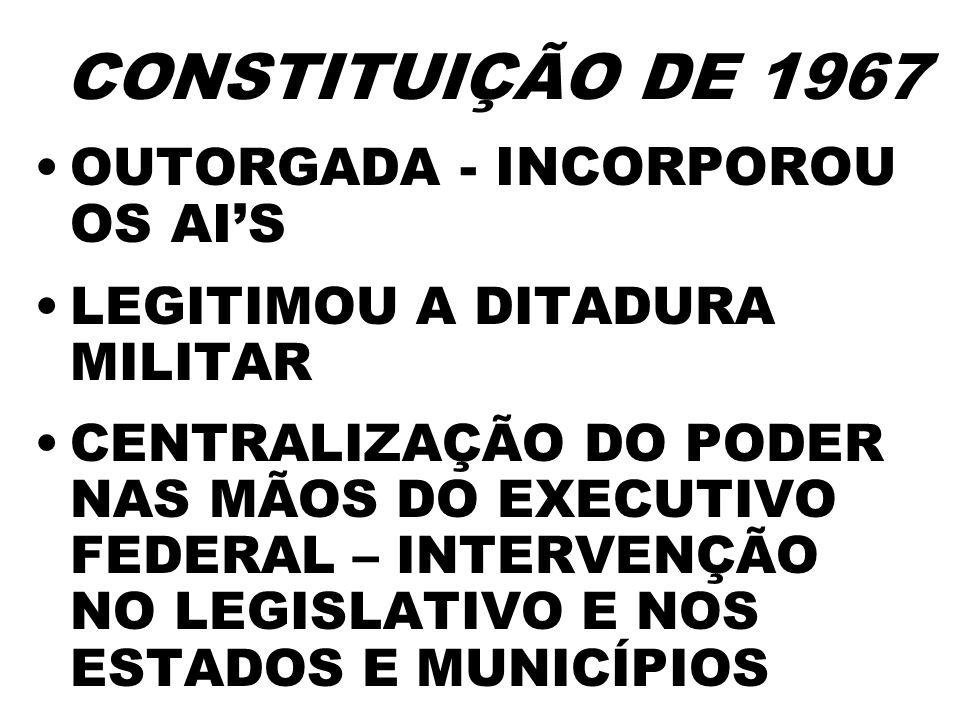 CONSTITUIÇÃO DE 1967 OUTORGADA - INCORPOROU OS AI'S