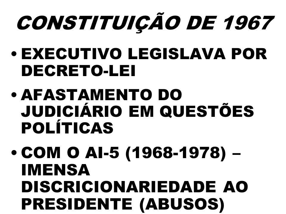 CONSTITUIÇÃO DE 1967EXECUTIVO LEGISLAVA POR DECRETO-LEI. AFASTAMENTO DO JUDICIÁRIO EM QUESTÕES POLÍTICAS.