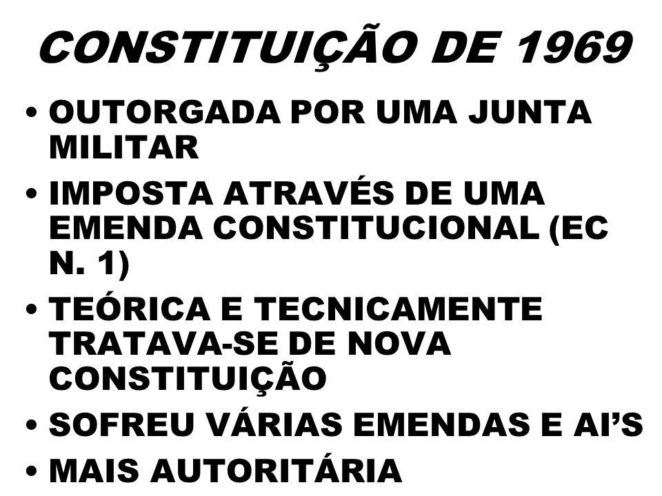 CONSTITUIÇÃO DE 1969 OUTORGADA POR UMA JUNTA MILITAR