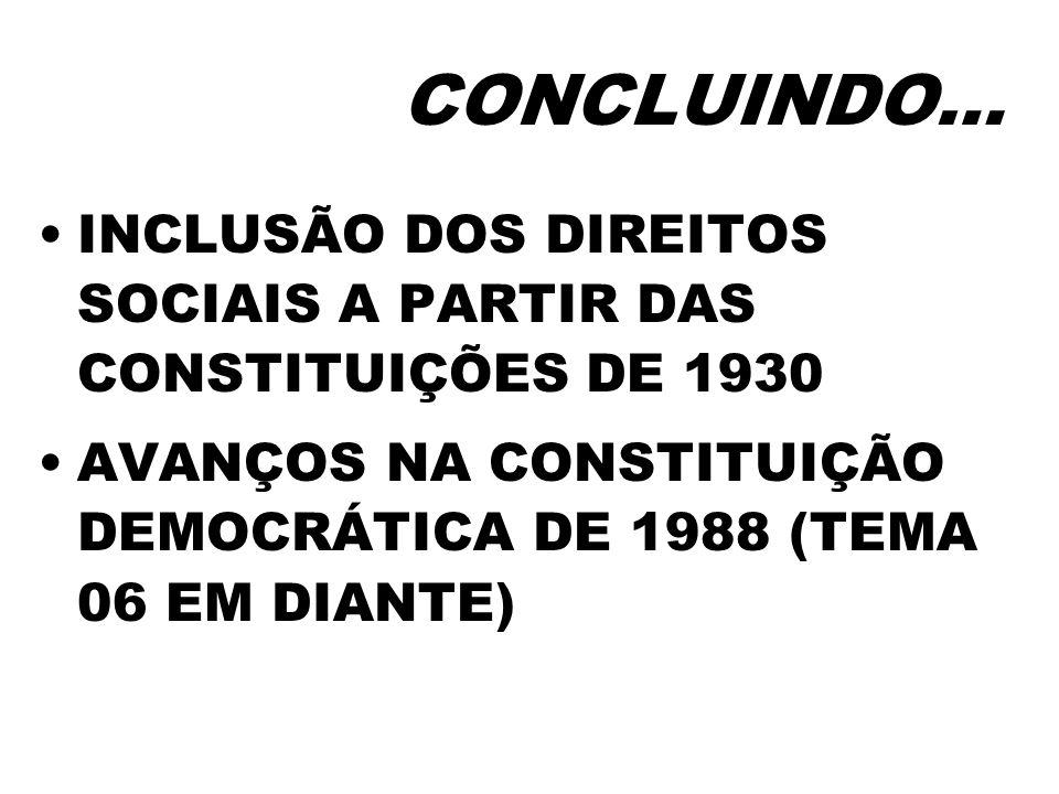 CONCLUINDO…INCLUSÃO DOS DIREITOS SOCIAIS A PARTIR DAS CONSTITUIÇÕES DE 1930.