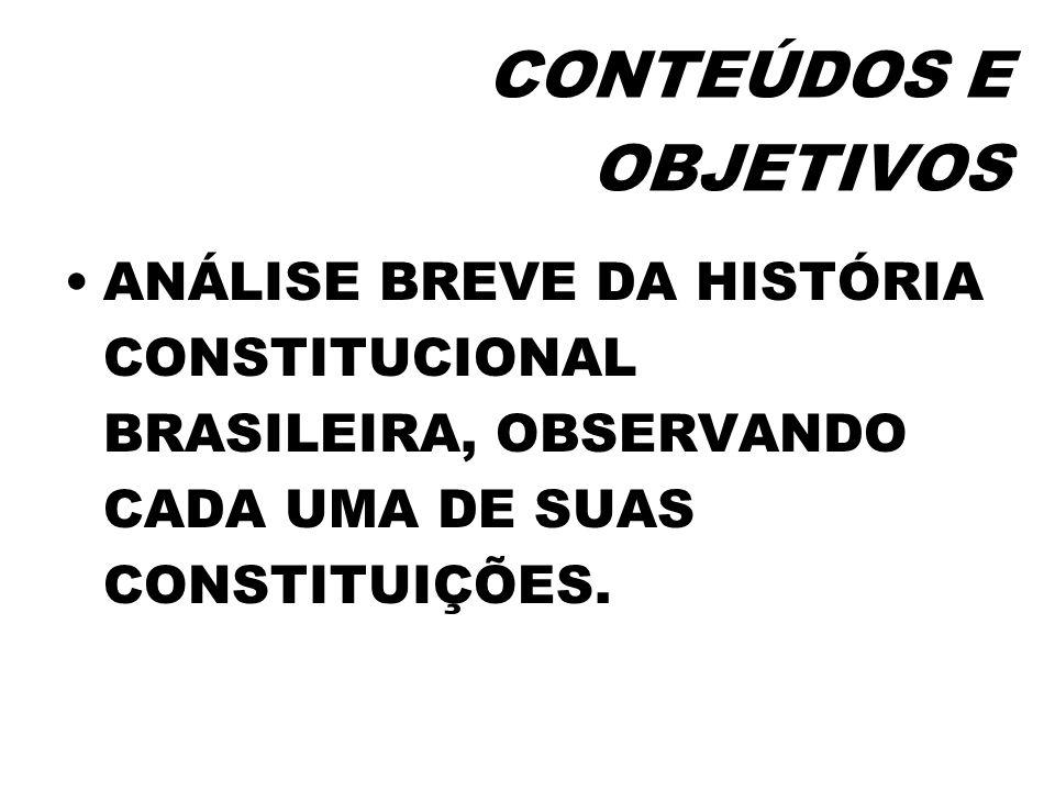CONTEÚDOS E OBJETIVOSANÁLISE BREVE DA HISTÓRIA CONSTITUCIONAL BRASILEIRA, OBSERVANDO CADA UMA DE SUAS CONSTITUIÇÕES.