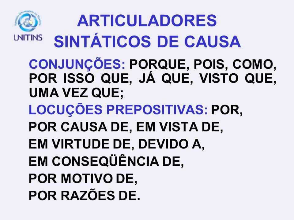 ARTICULADORES SINTÁTICOS DE CAUSA